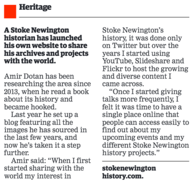 22.06.2017 – Hackney Gazette A Stoke Newington historian has launched his own website to share his archives and projects with the world.png