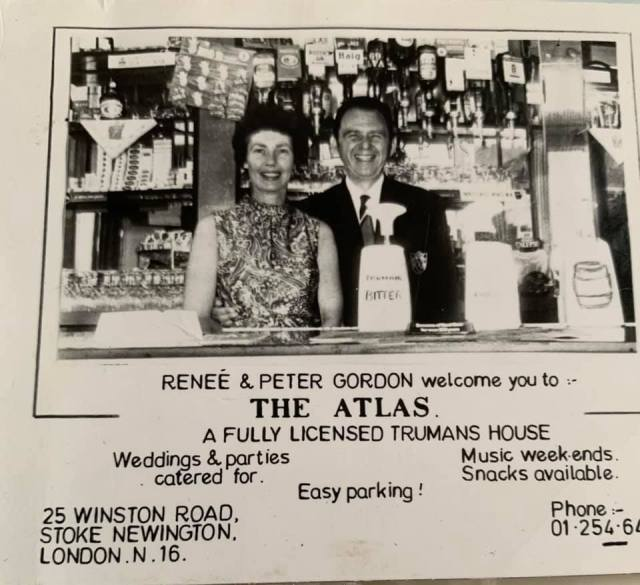 Renee and Peter Gordon, one time licensees of The Atlas pub, 25 Winston Road, Stoke Newington